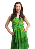 young beautiful woman in green dress smiling