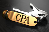 CPA Concept. Keys with Golden Keyring.