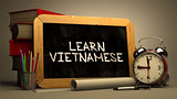 Learn Vietnamese - Chalkboard with Motivational Quote.