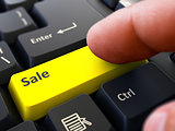 Sale Concept. Person Click Keyboard Button.