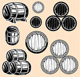 vector set monochromatic patterns with barrels for beverages