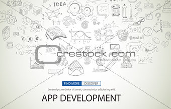 App Development Concept with Doodle design style