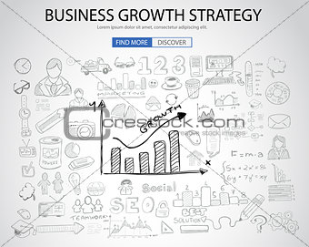 Business Growth Strategy  with Doodle design style