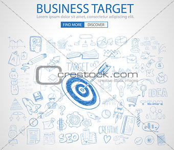 Business Target Concept with Doodle design style