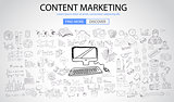 Content Marketing concept with Doodle design style