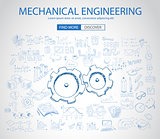 Mechanical Engineering concept with Doodle design style