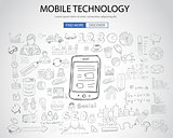 Mobile technology concept with Doodle design style