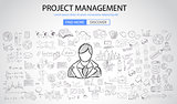 Project Management concept with Doodle design style