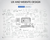 UX Website Design  concept with Doodle design style: