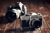 retro and dslr camera