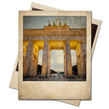 Vintage polaroid Berlin photo frame isolated