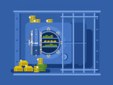 Bank safe flat design