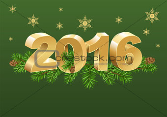 2016 gold number and spruce branches