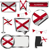 Glossy icons with flag of state Alabama