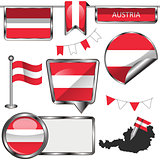 Glossy icons with flag of Austria