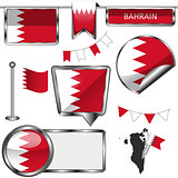 Glossy icons with flag of Bahrain