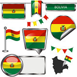 Glossy icons with flag of Bolivia