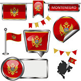 Glossy icons with flag of Montenegro