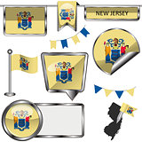 Glossy icons with flag of state New Jersey