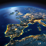Detailed Earth. Spain and the Mediterranean Sea on a moonlit nig