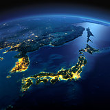 Detailed Earth. Part of Asia, Japan and Korea, Japanese sea on a