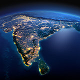 Detailed Earth. India and Sri Lanka on a moonlit night