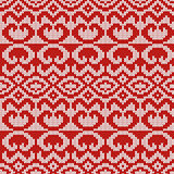 Knitted Seamless Pattern in Gray and Red
