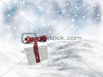 3D Christmas gift nestled in snow