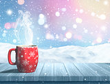 3D steaming Christmas mug on a wooden table against a snowy land