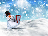 3D Christmas snowman carrying stack of gifts