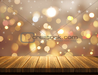 3D Christmas mug on a bokeh lights background