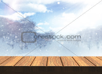 3D wooden table with defocussed snowy landscape