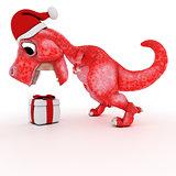 Friendly Cartoon Dinosaur with gift christmas box