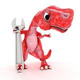 Friendly Cartoon Dinosaur with wrench