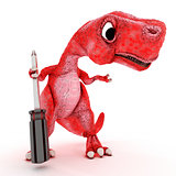 Friendly Cartoon Dinosaur with screwdriver