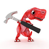 Friendly Cartoon Dinosaur with hammer