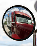 Truck reflected in mirror