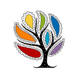 Art tree with colorful petals for your design