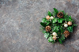 Green Christmas wreath Grey Stone background