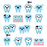 Kawaii Tooth , cute teeth characters - vector icons set