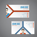 Blue orange color business card with arrow stripes