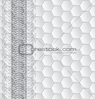 Abstract brochure with tire tracks and hexagon pattern