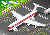 Airplane Landed Vehicle Isometric