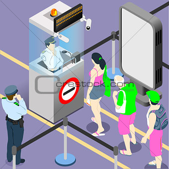 Airport Queue Concept Isometric