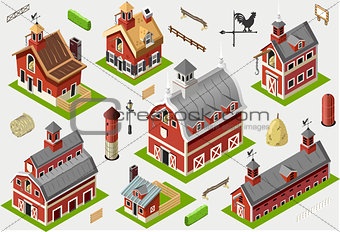 American Farm Building Isometric