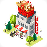 Bakery Building Icon Isometric