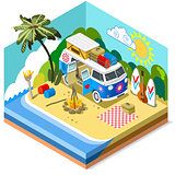 Beach Van Vehicle Isometric