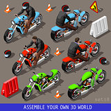Bikers Flat Set Vehicle Isometric