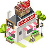 Butcher Shop Building Isometric