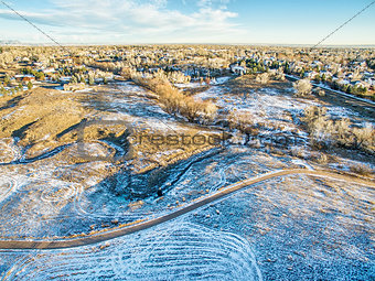 aerial view of Colorado foothills